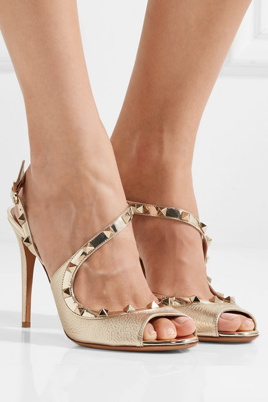 Valentino Garavani The Rockstud Metallic Leather Sandals - IT36.5 Valentino Rnu18IkS