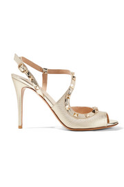 The Rockstud metallic textured-leather sandals