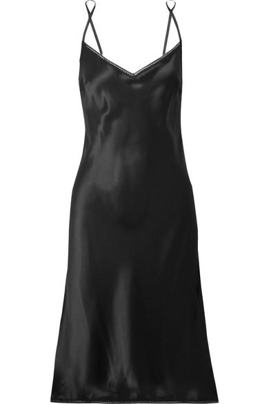 Carine Gilson Chantilly Lace-Trimmed Silk-Satin Chemise In Black ... 0c03c4cbb