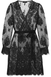 Deshabille Cache-Coeur cotton-blend lace robe