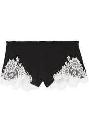 Chantilly lace-trimmed silk-georgette shorts