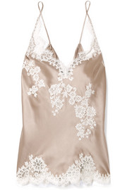 Chantilly lace-trimmed silk-satin camisole