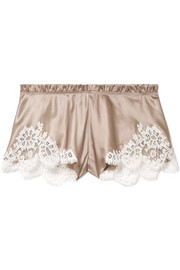 Chantilly lace-trimmed silk-satin shorts