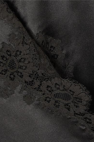 Carine Gilson Cachecoeur Wickelhemd aus Seidensatin mit Spitzenbesatz