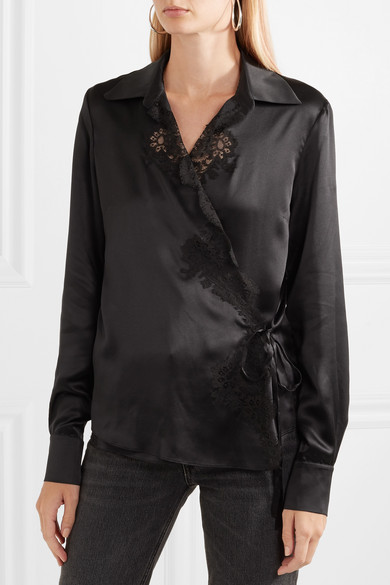 Carine Gilson Cache Coeur Wrap Shirt From Silk Satin With Lace And Braid