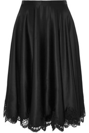 Carine Gilson Dancer lace-trimmed silk-satin skirt