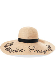 Bunny embroidered straw sunhat
