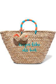 St Tropez pompom-embellished embroidered woven straw tote