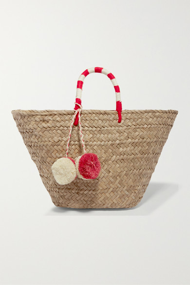 Kayu - St Tropez Pompom-embellished Embroidered Woven Straw Tote - Beige