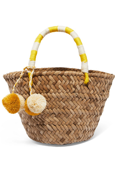 Kayu - St Tropez Mini Pompom-embellished Embroidered Woven Straw Tote - Yellow