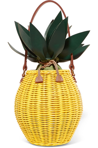 Colada Leather Trimmed Wicker Tote by Kayu