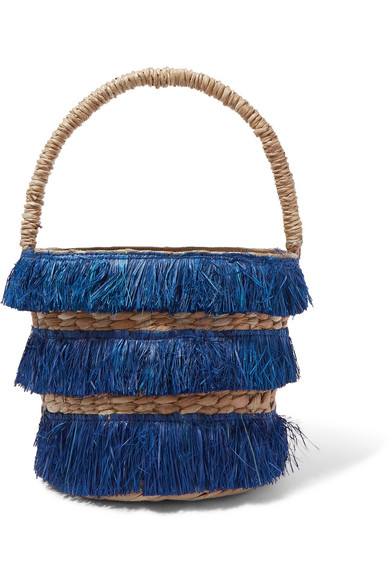 Lolita Mini Fringed Woven Straw Tote by Kayu
