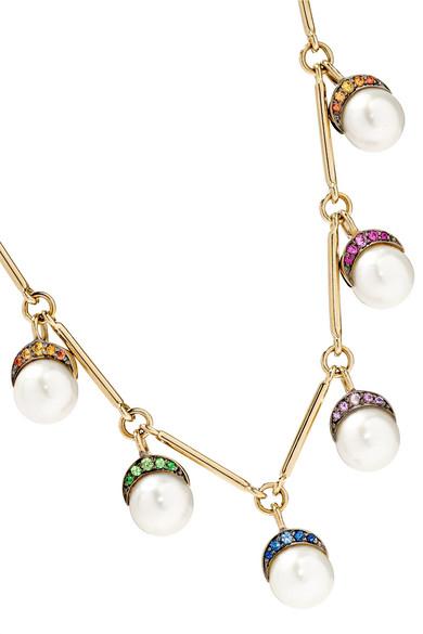 Noor Fares Exclusive Mala 18-karat Gray Gold Multi-stone Necklace WqMau