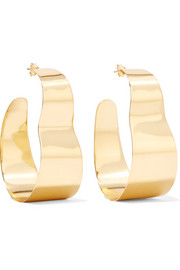 Gold-plated freshwater pearl hoop earrings