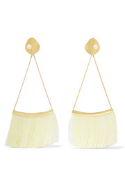 Gold-plated pearl and silk earrings