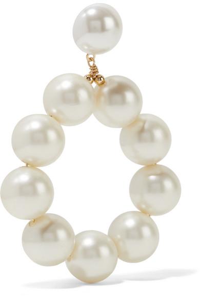 Kenneth Jay Lane Gold Plated Faux Pearl Earrings