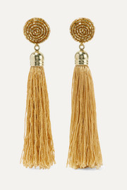Kenneth Jay Lane Gold-plated, tasseled silk and bead earrings