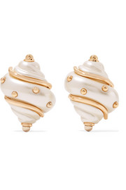 Kenneth Jay Lane Gold-plated faux pearl clip earrings