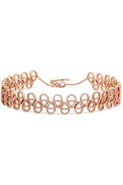 Tatouage 9-karat rose gold diamond choker