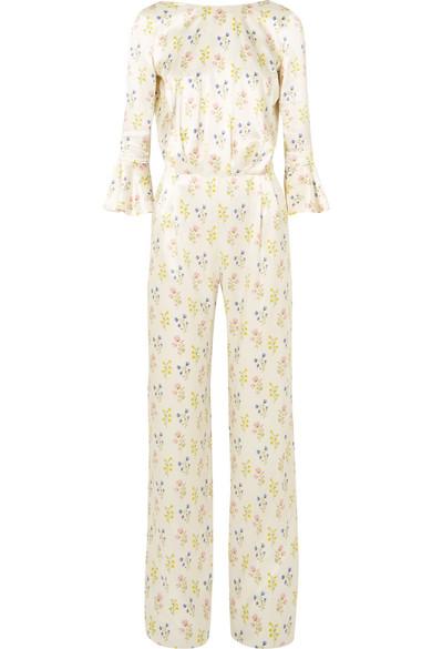 SEREN Gee Open-Back Floral-Print Silk-Satin Jumpsuit in White
