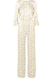 Gee open-back floral-print silk-satin jumpsuit