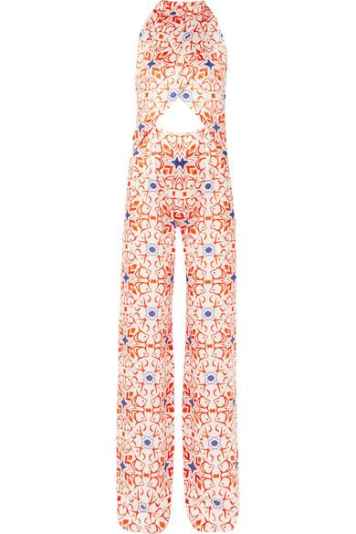 SEREN Soiree Cutout Printed Silk-Satin Jumpsuit in Orange