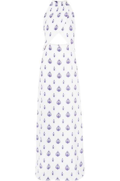 SEREN Soiree Cutout Printed Silk-Satin Maxi Dress in White