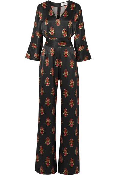 SEREN Kimi Floral-Print Silk-Satin Jumpsuit in Black