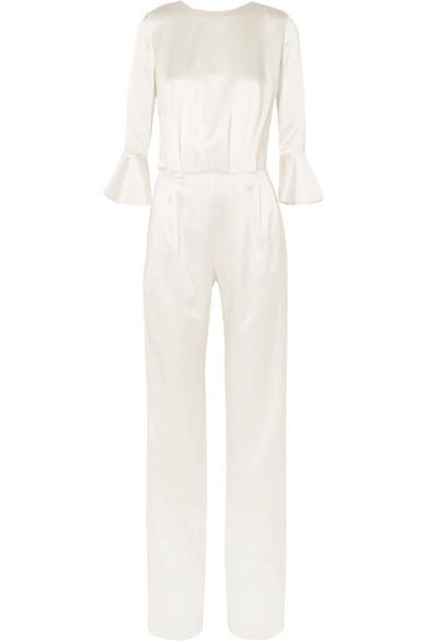 SEREN Gee Open-Back Silk-Satin Jumpsuit in Ivory