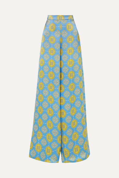 SEREN Printed Silk-Satin Wide-Leg Pants in Blue