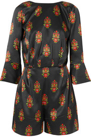 Seren Baby Gee open-back floral-print silk-satin playsuit