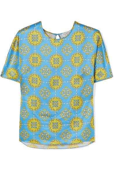 SEREN Tipi Printed Silk-Satin Top in Blue