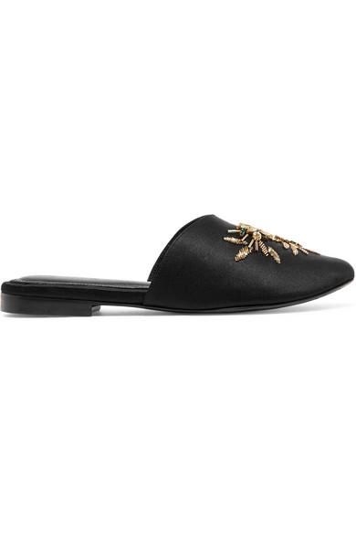 ZYNE Swary Ii Embellished Satin Slippers in Black