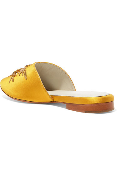 Swary Ii Embellished Satin Slippers - Yellow Zyne Visa Payment Cheap Online Cheap Online Clearance 2018 New Sale How Much For Nice For Sale P7CuyU
