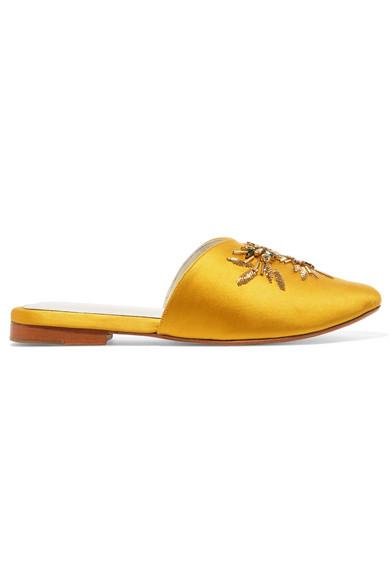 ZYNE Swary Ii Embellished Satin Slippers in Yellow