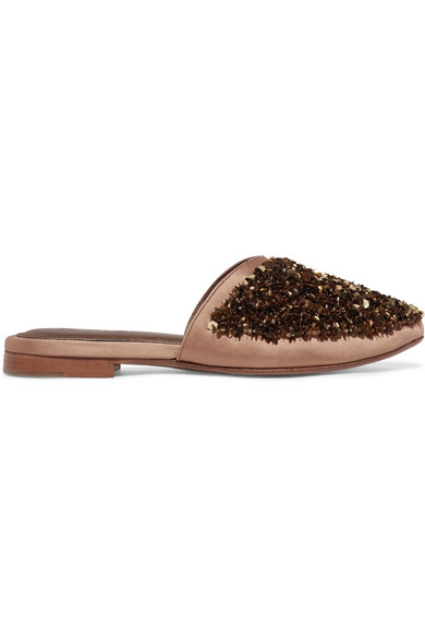 ZYNE Moon Embellished Satin Slippers in Gold