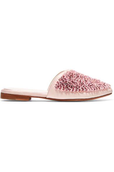 ZYNE Candy Embellished Satin Slippers in Pink