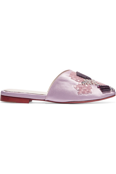 ZYNE Erai Iii Embellished Satin Slippers in Lilac