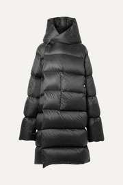 Oversized hooded quilted shell down coat