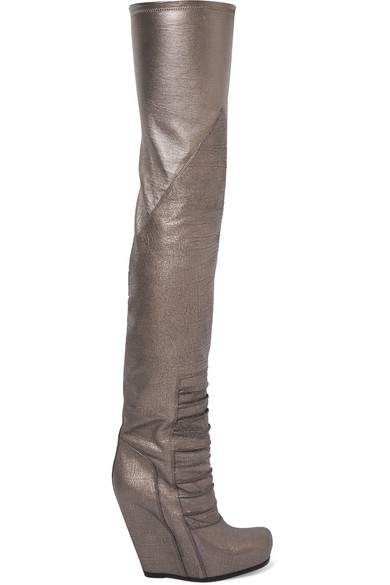 RICK OWENS METALLIC TEXTURED-LEATHER OVER-THE-KNEE WEDGE BOOTS
