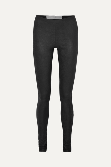 Textured-Leather And Stretch-Cotton Leggings, Black