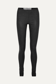 Textured-leather and stretch-cotton leggings
