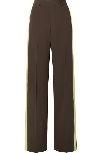 Satin-trimmed Wool Wide-leg Pants - Dark brown Rick Owens VkvJn