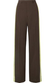Satin-trimmed wool wide-leg pants