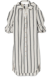 Amber striped cotton and linen-blend shirt dress