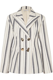 REJINA PYO Nicole double-breasted striped cotton-chambray blazer