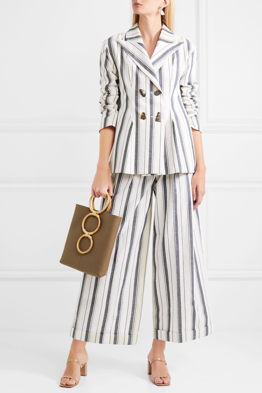 REJINA PYO Nicole double-breasted striped cotton-chambray blazer