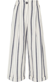 Dylan cropped striped wide-leg cotton-chambray pants