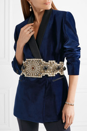 Embellished silk-satin waist belt