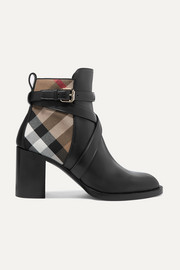 Burberry Leather and checked canvas ankle boots